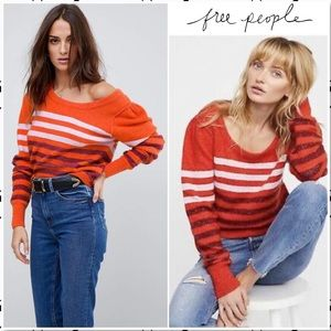 Free People Complete Me Retro Striped Sweater NEW